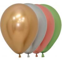 Латексные воздушные шары Хром, Рефлекс, Ассорти, Зеркальные шары