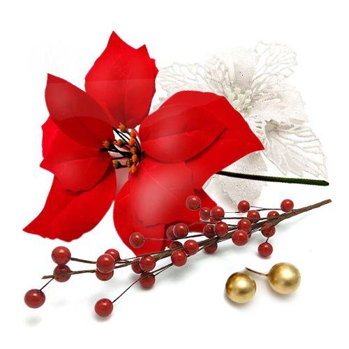 Новогодний декор пуансеттия ягоды