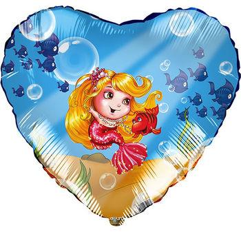 Фольгированный шар сердце Русалочка