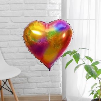 Фольгированный шар Радужные блики сердце градиент разноцветный