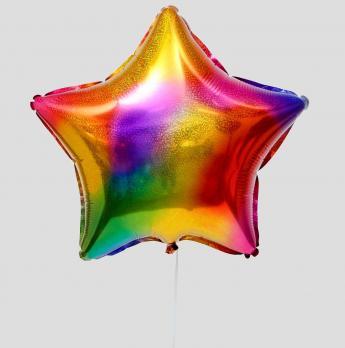 Фольгированный шар Радужные блики Звезда разноцветный