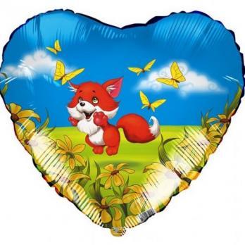 Фольгированный шар сердце Лисенок