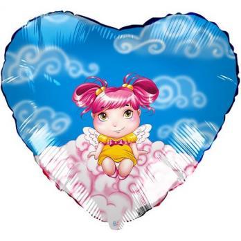 Фольгированный шар Сердце Ангелочек