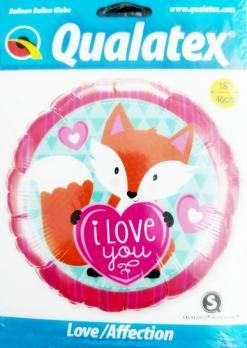 Фольгированный шар круг I Love You Лисенок
