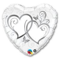Фольгированный шар Сердца переплетенные Silver