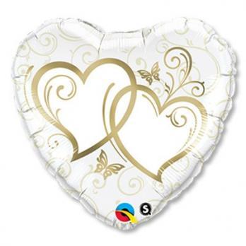 Фольгированный шар Сердца переплетенные Gold