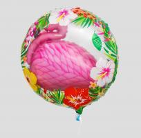 Фольгированный шар круг Розовый фламинго