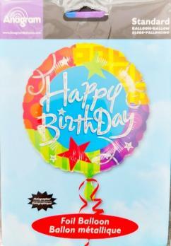 Фольгированный шар круг Happy birthday