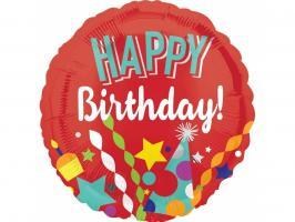 Шар фольгированный круг Happy birthday