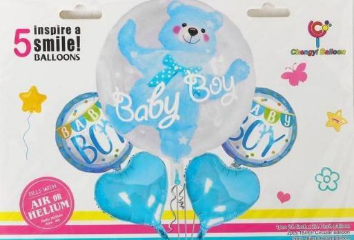 Букет из шаров Ура мальчик мишка в шаре набор 5 шт